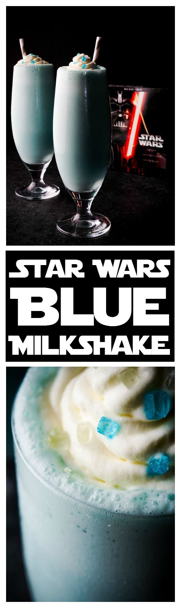 These Star Wars Blue Milkshakes are made with creamy vanilla ice cream and fresh blue milk from Tatooine. They're perfect for enjoying a Star Wars Marathon with or a great addition to a Star Wars Party! An EASY recipes that's ready in just 5 minutes!