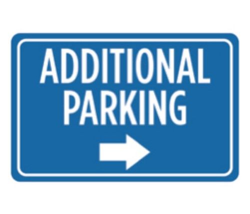 Aluminum Metal Additional Parking Print Blue White Right Arrow Picture Symbol Notice Car Park Lot Business Office Sign