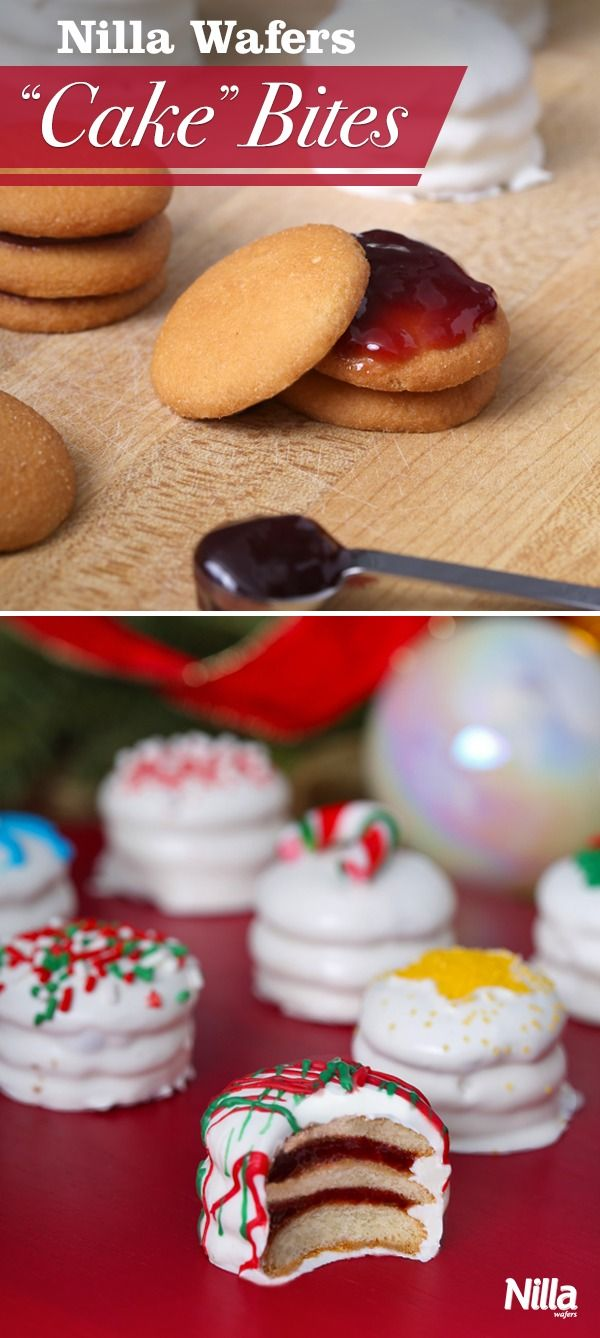 """Nilla Wafers """"Cake"""" Bites are too cute and so fun to make! Just layer jam between Nilla Wafers and cover in melted chocolate or candy coating for a mini """"cake"""". Serve them at your holiday party and they are sure to be a hit."""