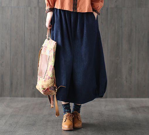 ==> [Free Shipping] Buy Best Casual Bohemian Hippie Boho Harajuku Faldas Vaqueras Elastic Waist Loose Denim Blue Cotton Jeans Pocket Women Spring Long Skirt Online with LOWEST Price   32798508227