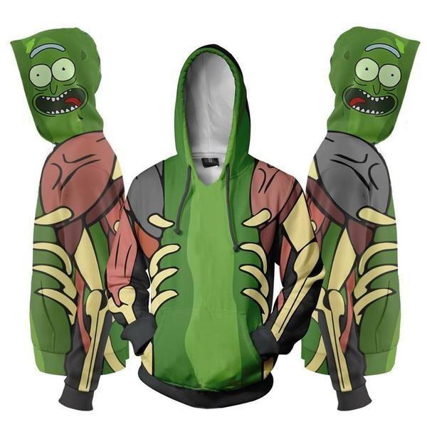Pickle Rick 3D Hoodies   Geeky Stuff   Rick, morty, Zip up hoodies