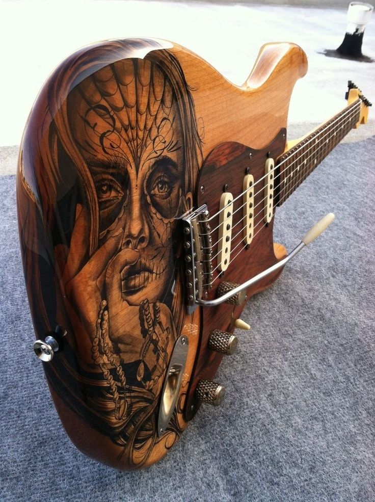 Hand tattooed custom guitar built by parsons guitars for Does walmart sell tattoo ink in store