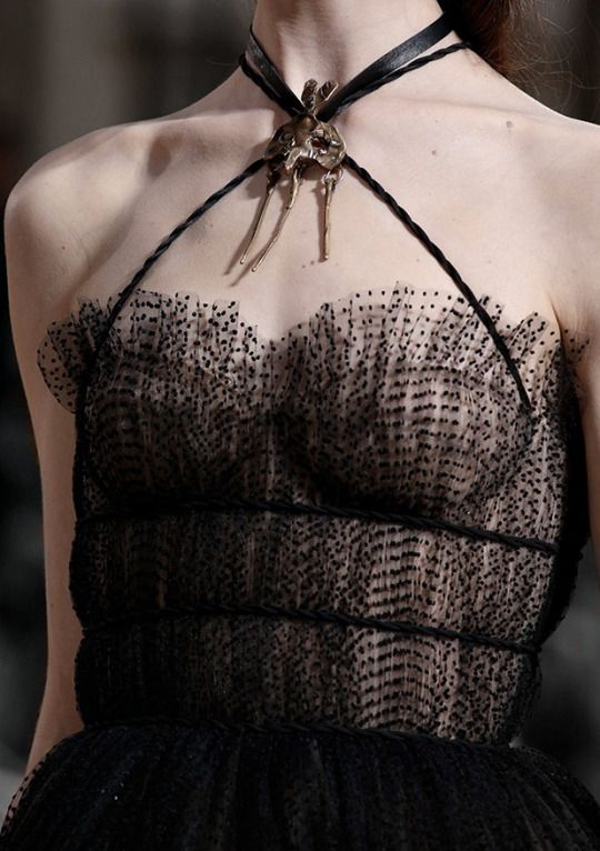 Dark Romance - black tulle dress; haute couture fashion details // Valentino Fall 2015