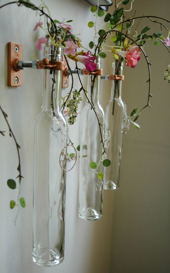 Pendant ice wine bottles stem holders or oil candles wall