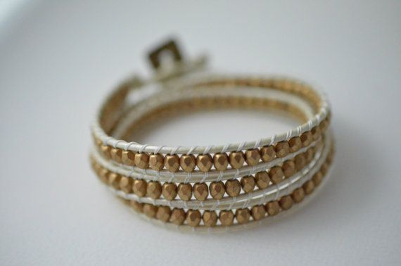 Triple Wrap Bracelet  Pearl White and Mate Gold by Danerz on Etsy