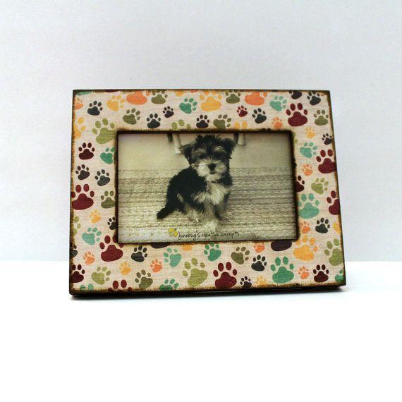 5x7 5x5 4x6 Dog Paw Photo Frame  Multi Color Pet Frame  Dog