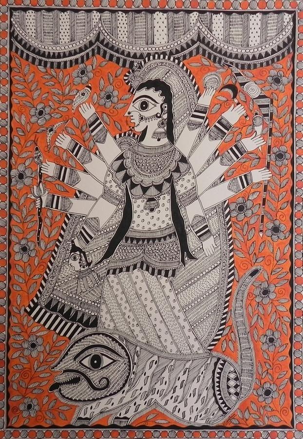 Indian Folk Art Painting - Durga M Vp 19 by Vidushini Prasad