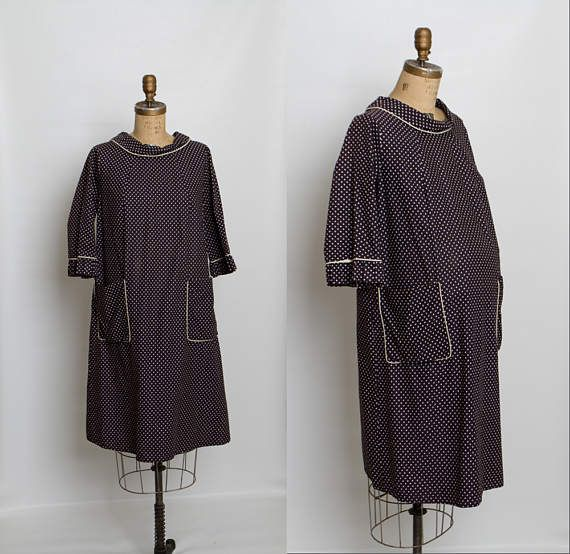 vintage 1960s polka dot maternity dress