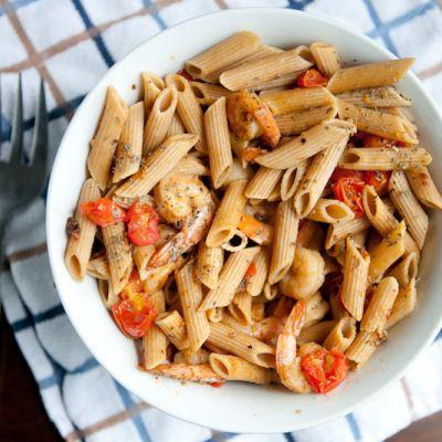 Garlic Shrimp Pasta with Tomatoes and Basil | Recipe