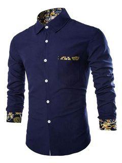 Estampado de camisa azul marino oscuro camisa Casual para hombres