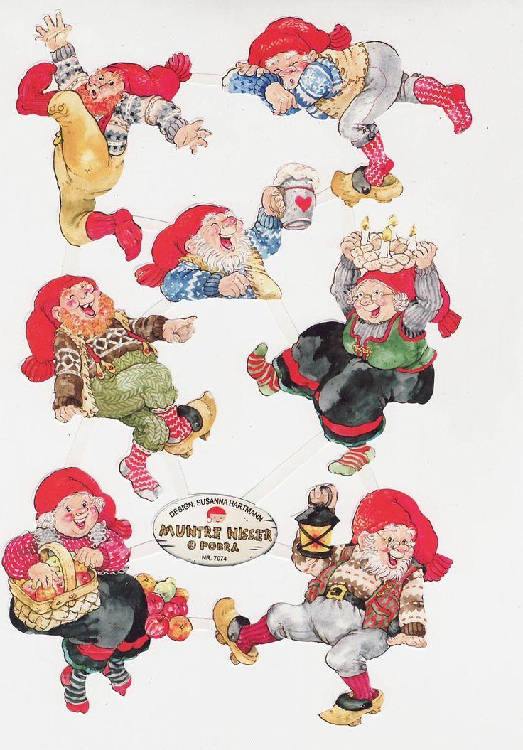 Die cut Scrap Sheet Pobra Happy Santas from Denmark Muntre Nisser (Image1)