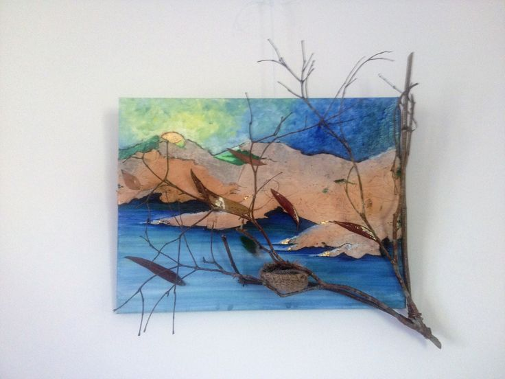 """This started out as an oil on canvas landscape with some eucalyptus paper bark for the hills, but evolved into a statement on change, the environment and seasons. Meet """" Autumn Winds""""."""