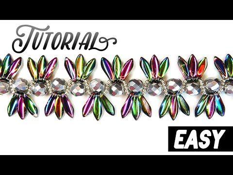 "Tutorial: beaded bracelet ""Exotica"" using DAGGER beads / Легкий браслет из бисера ""Экзотика"" - YouTube"