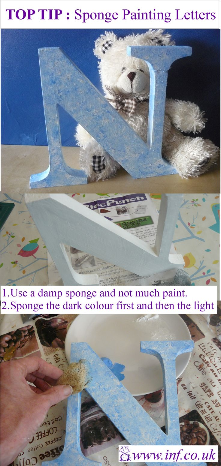 Sponge painting a wooden or mdf letter is easy and effective. Why not give it a go?