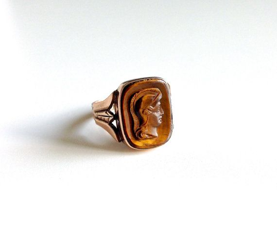 Beautiful Antique Victorian Cameo 10K Gold Ring Circa by luxcharm