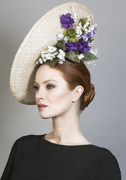 Rachel Trevor Morgan Millinery SS 2016 | R1664 - Natural mesh straw disc with delicate flowers