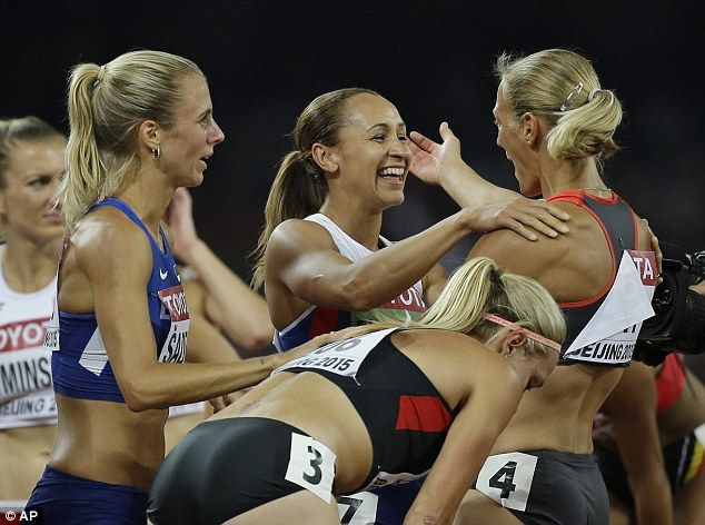 Fellow heptathlon contestants congratulate Ennis-Hill after the Sheffield star won gold in Beijing