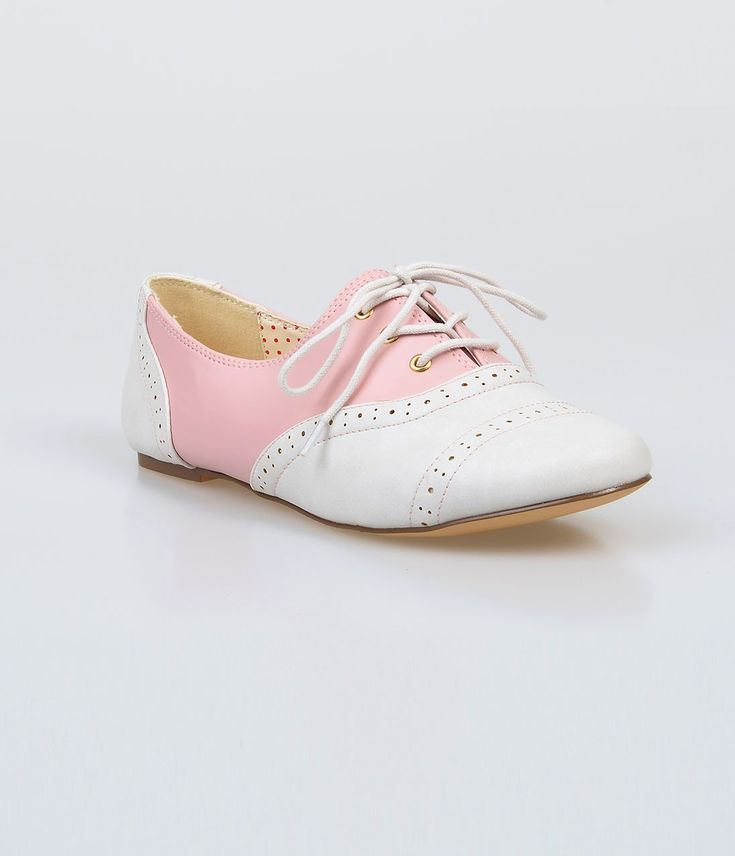 Baby Pink & White Color Block Emmie Saddle Shoes ♡
