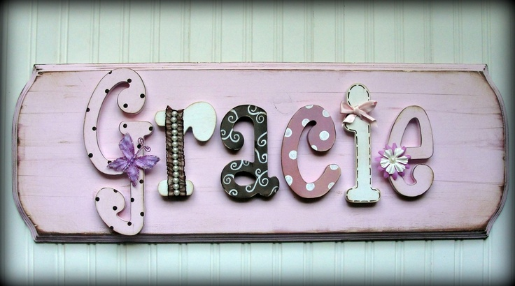 Pretty and primitive enLARGEd custom name plaque by MyAdornables <3