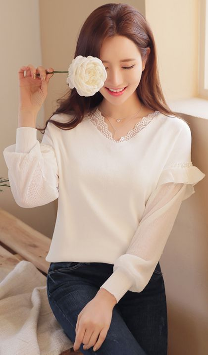 StyleOnme_Pearl Detail Frill Sleeve V-Neck Knit Top #ivory #lace #feminine #pearl #ruffle #koreanfashion #kstyle #seoul #dailylook