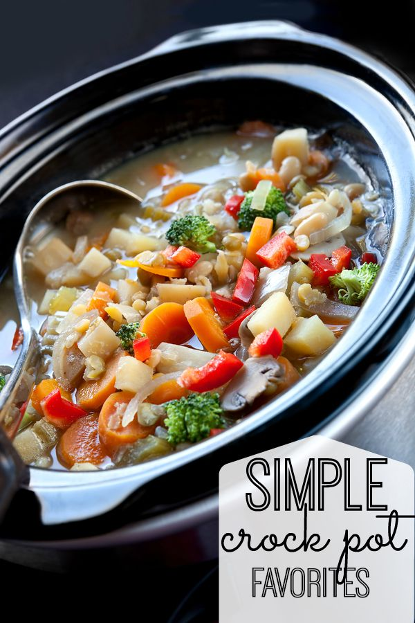 12 simple crockpot recipes that require minimal prep time and have a long cooking duration. Enjoy your time and the wonderful aromas, and then a good meal!