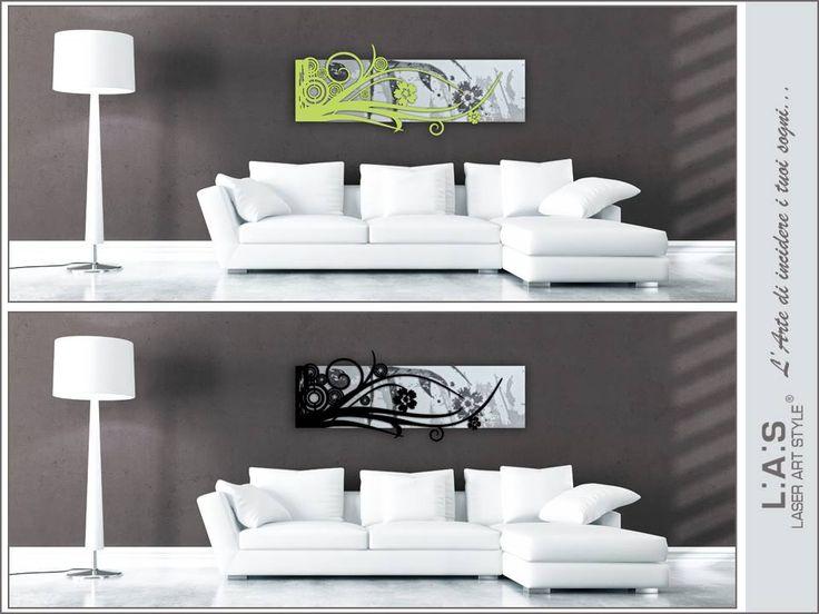 #ChoiceLAS Aiutaci a scegliere l'accostamento cromatico per valorizzare le linee di questa scultura da parete astratta #laserartstyle: un tocco di colore o tono su tono? http://www.laserartstyle.it/home/gallery/astratti/