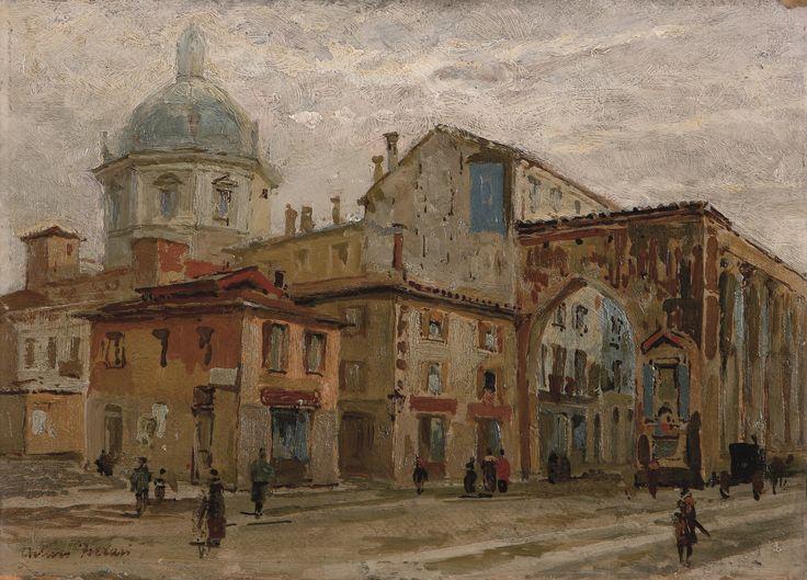 Arturo Ferrari, Piazzetta Venezia a Milano. #pittura #collezioneBPM