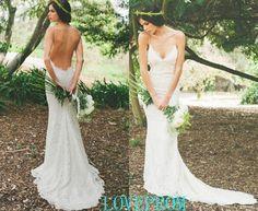 2015 Hot venta Sexy sirena de la boda vestidos V cuello correas espaguetis barrer de tren de encaje de novia de la boda vestidos de marfil blanco sin espalda