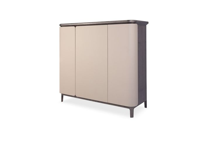 For the ultimate contemporary storage solution, look no further than this Bowen sideboard. Featuring leather hide upholstery in a soft beige hue with a delicate ashwood finish, this piece is perfect for a dining room.