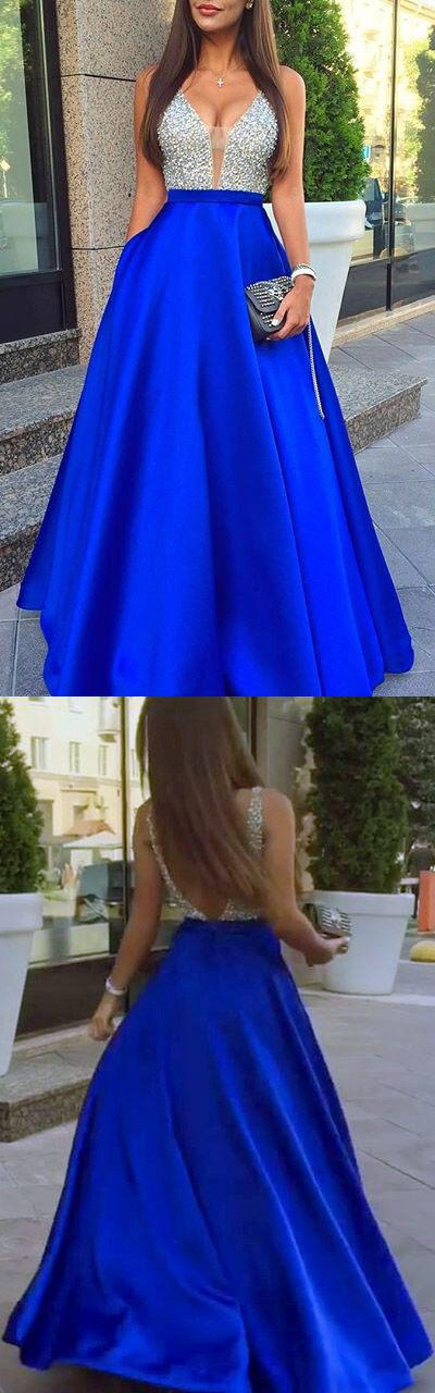Blue Prom Dresses Ball Gown, Long Formal Dresses 2018, A-line Party Dresses Satin with Beading, V-neck Evening Gowns Backless Ladies