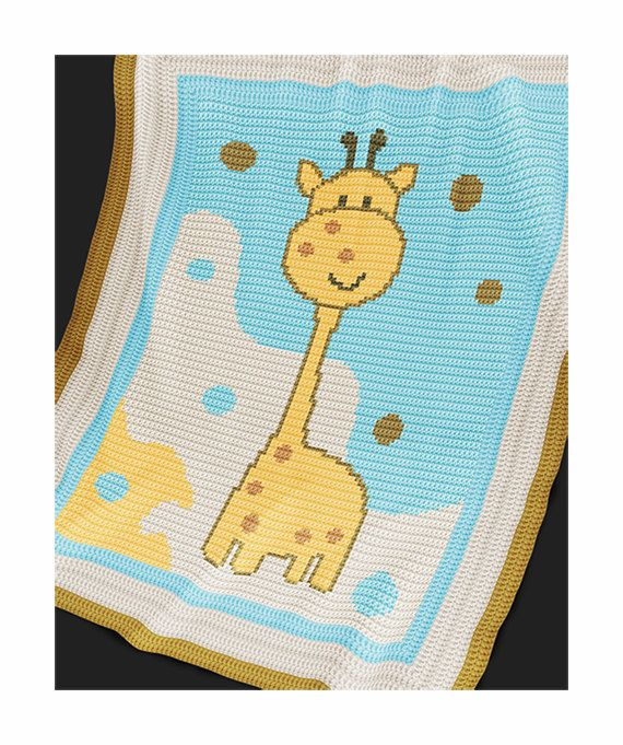 "CROCHET Pattern  Baby Blanket Pattern  Giraffe  by PatternWorldUK ~ measures approx. 25.5"" x 29.5"" ~ to increase size just make larger border (instru. included) ~ CROCHET - love giraffes for babies"