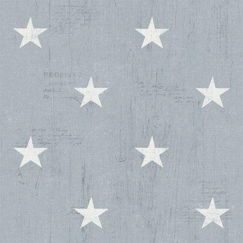 Vita stjärnor på blågrå trämönstrad botten från kollektionen Hantverk, 17322. Klicka för fler fina tapeter för ditt hem!