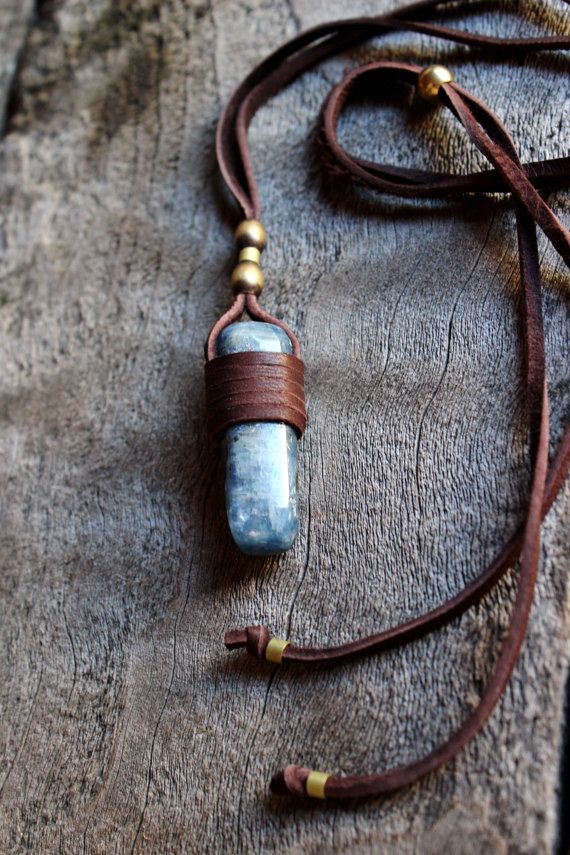 Blue Stone Necklace Kyanite Spiritual by WildPeopleFreeSpirit, $47.00                                                                                                                                                      More