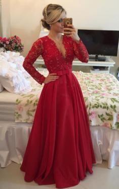 Günstiges langes rotes Satin Spitze Ballkleid Abendkleid-queeniekleid.de