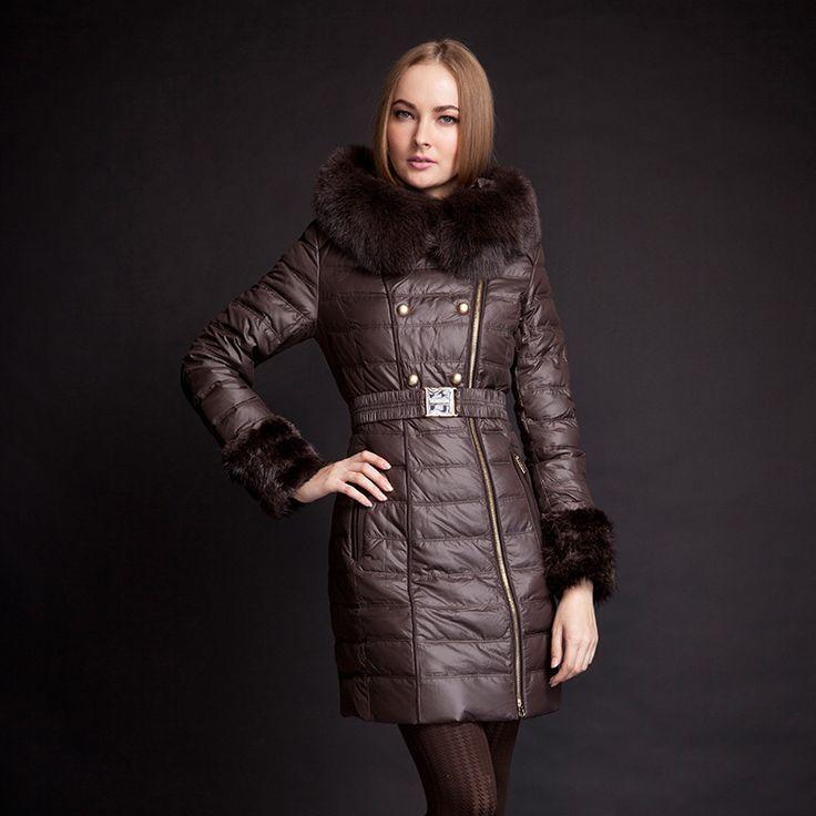 MOHNASS 2015 куртка зимняя женская пуховики женские мода Пуховик парка женская зимние куртки блузки женские пальто RUS Бесплатная Доставка зима толстый натуральный мех лисы 3A7147