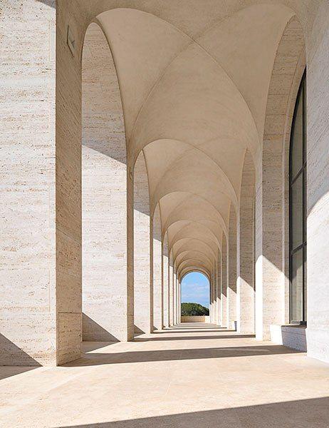 This loggia is located in the 1943 Palazzo della Civiltà Italiana. It is Fendi's new Rome headquarters. Architectural Digest, June 2015 issue.