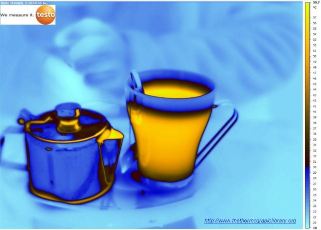 Thermografie van theepot  in inox en mug in glas in thermografie met TESTO 890 Thermography of an inox teapot with a mug in glas with TESTO 890 Thermographie d'une théière en inox avec tasse en verre vu par une TESTO 890