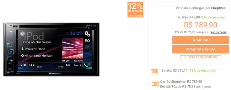 DVD Player Automotivo Pioneer AVH-288BT Tela 62'' com Bluetooth USB Entrada RCA << R$ 69511 >>