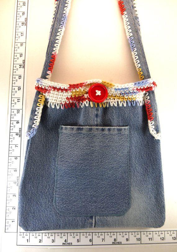 Womens recycled denim hobo hip bag handmade crochet by Heads2Toes