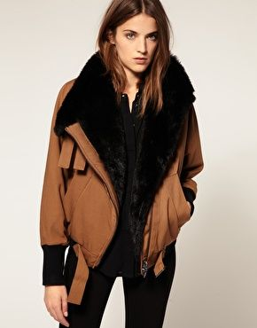 I'm Intrigued with this jacket.   Full Circle Faux Fur Lined Bomber Jacket. ASOS.