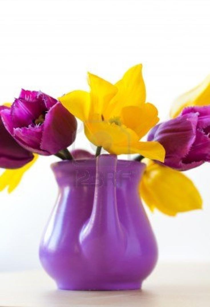 Tulipani viola e giallo, vaso in ceramica Archivio Fotografico