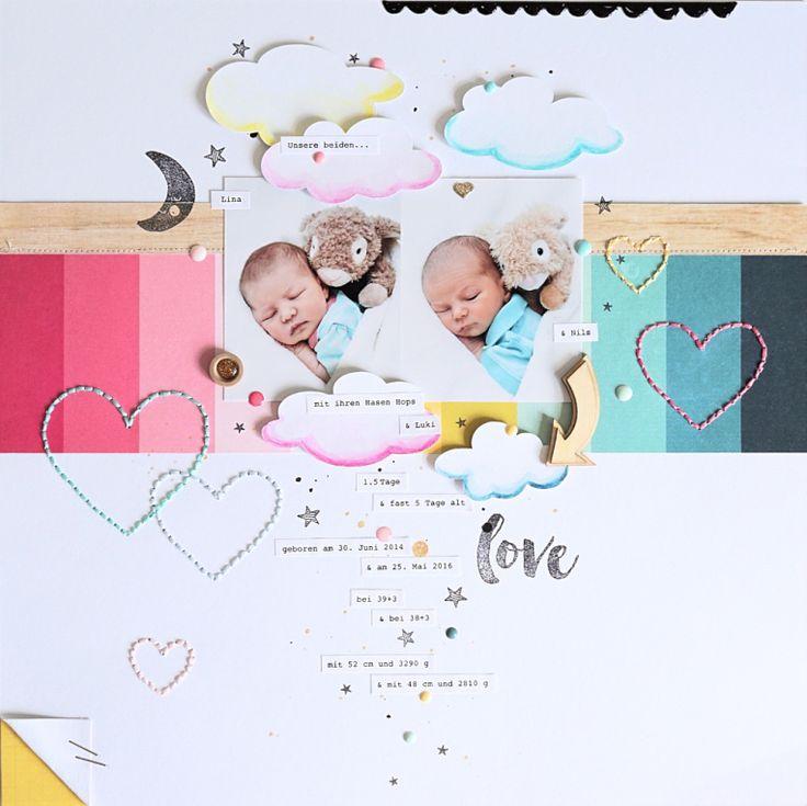 Layout *Unsere beiden* - Crate Paper *Cute Girl*, *Little You*, *Cool Kid* - von Ulrike Dold