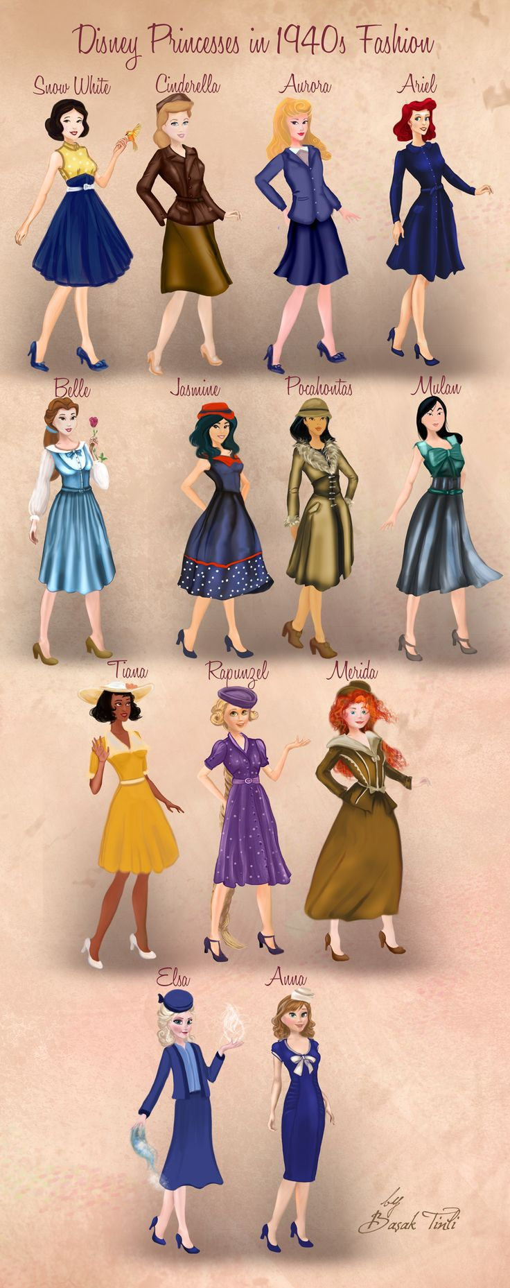 Disney Princesses in 1940s Fashion by Basak Tinli by BasakTinli.deviantart.com on @DeviantArt