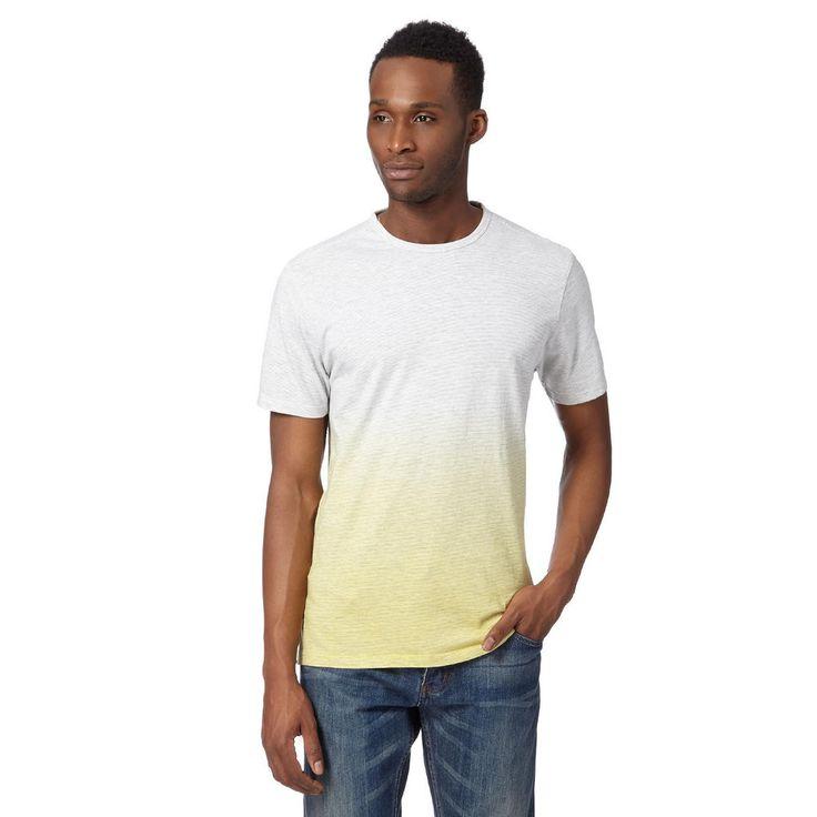 BNWT Jasper Conran Jeans Marl Striped Dip Dye T-Shirt Yellow Medium Size #Debenhams #GraphicTee
