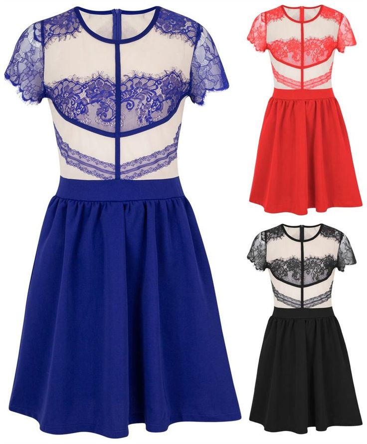 Women Ladies Skater Lace Dress Classy Party Dresses Nude Mesh Insert Top UK 8-16 #Unknown