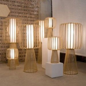 Handmade Lamps Of Curled Bamboo.