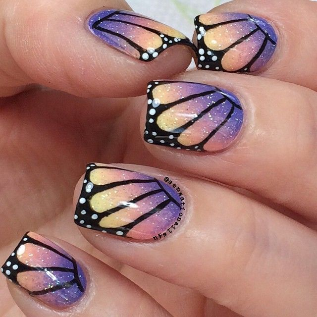 Butterflies Effect  @chinaglazeofficial White out  Pinking out the Window. Sun Upon my skin. Fairy Dust. @essiepolish Suite Retreat. All details painted with acrylic paint