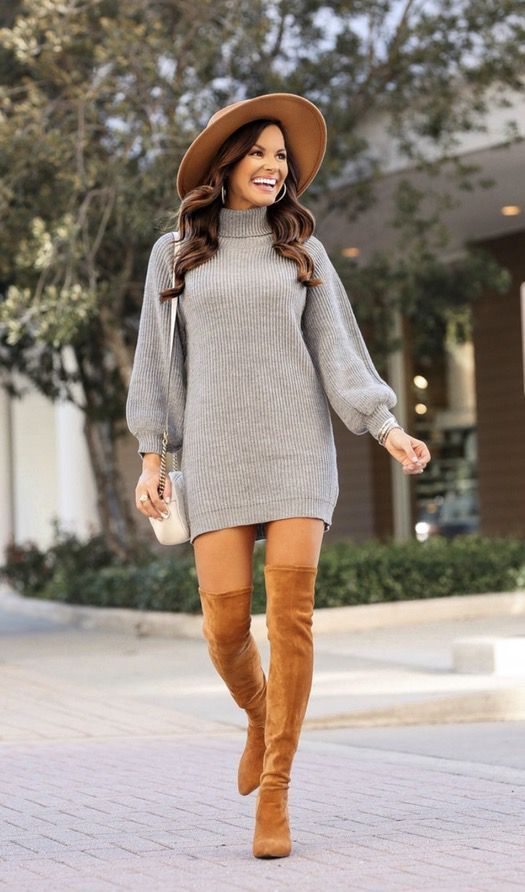21+ Winter Outfits To Copy ASAP: Grey sweater dress with tan over the knee boots and wool hat. These casual winter outfits will keep you warm when oth…