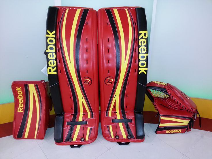 Reebok Premier 4 custom goalie gear made for a customer. Do you like his color choices?