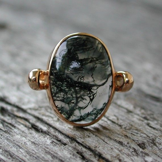 Mystical moss agate ring 14k rose pink gold jewelry by SARANTOS